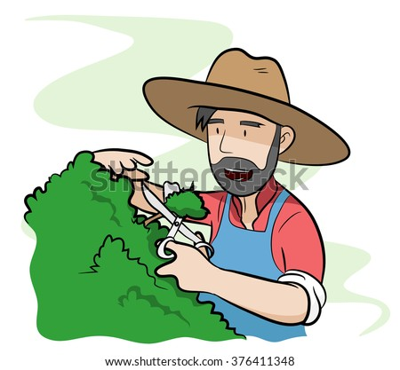 Gardener, a hand drawn vector illustration of a gardener, isolated on a simple background (editable).