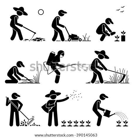 Gardener and Farmer using Gardening Tools and Equipment for Cultivating Work and Seedlings