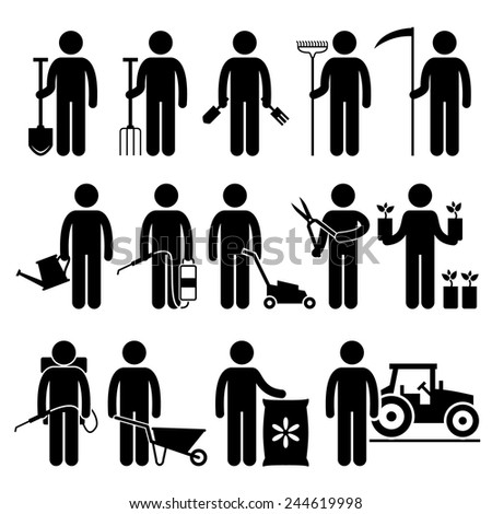 Gardener Man Worker using Gardening Tools and Equipments Stick Figure Pictogram Icons - stock vector