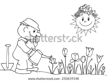 Gardener watering flowers in garden centre. Hand drawn vector. - stock vector