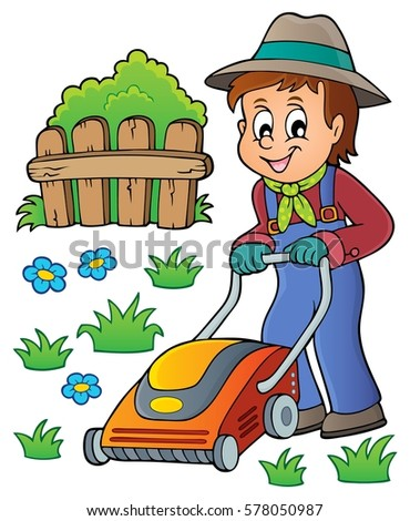 Gardener with lawn mower theme image 1 - eps10 vector illustration.