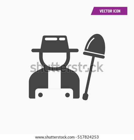 Gardener with shovel icon illustration isolated vector sign symbol