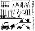 Gardening and agriculture tools collection - vector silhouette - stock vector