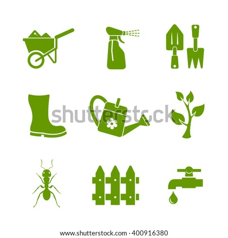 Gardening and garden tools icons set - stock vector