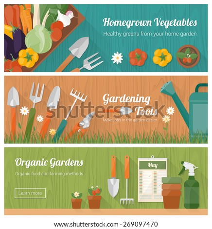 Gardening And Horticulture, Hobby And Diy Banner Set With Tools, Vegetables  Crate And Plants