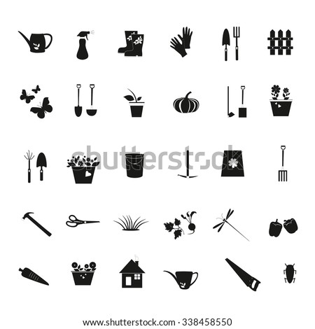 Gardening black icons. Gardening design elements- vector illustration isolated. - stock vector