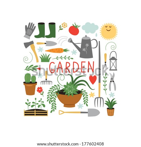 gardening design elements - stock vector