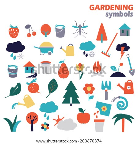 Gardening design elements. Garden vector icons. Set of colorful icons - stock vector