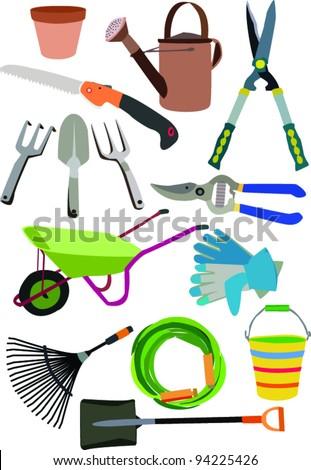 gardening equipment - stock vector