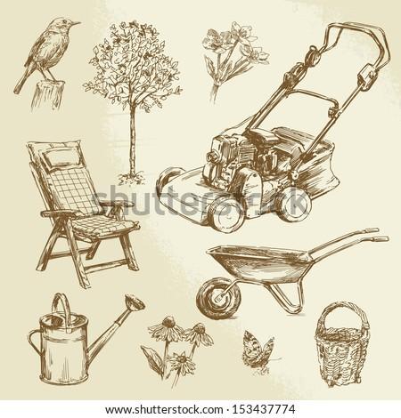 gardening - hand drawn set - stock vector