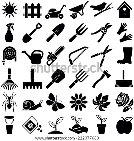 Gardening icon collection - vector illustration  - stock vector