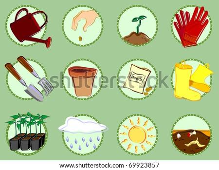 Gardening Icon Set - stock vector