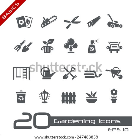 Gardening Icons // Basics - stock vector