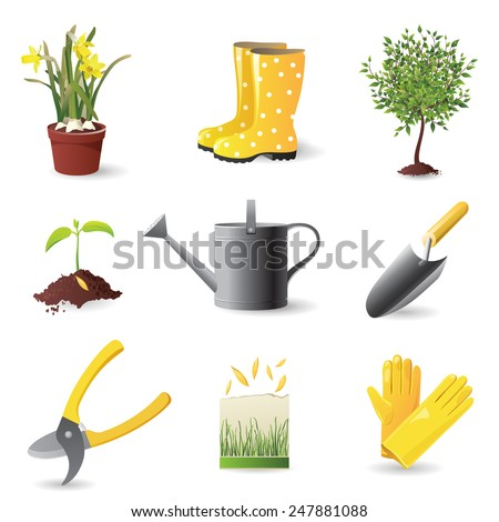 Gardening icons set - vector illustration - stock vector
