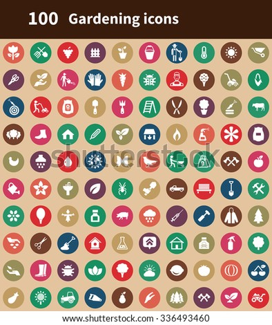 gardening 100 icons universal set for web and mobile