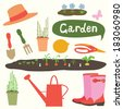 Gardening illustration set  - stock vector