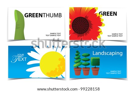 Gardening Landscaing Business Card Set EPS 8 vector, grouped for easy editing. No open shapes or paths. - stock vector