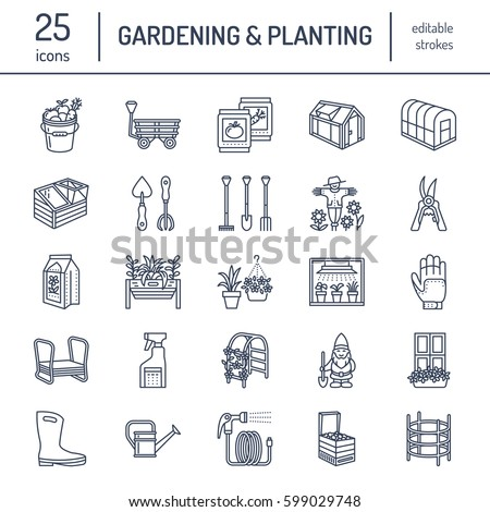 Gardening  planting and horticulture line icons  Garden equipment  organic  seeds  fertilizer. Horticulture Stock Images  Royalty Free Images   Vectors