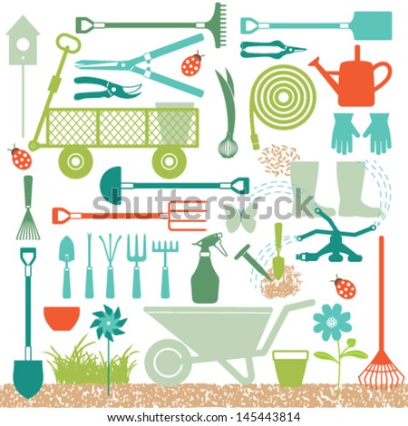 Gardening related icons 4 - stock vector