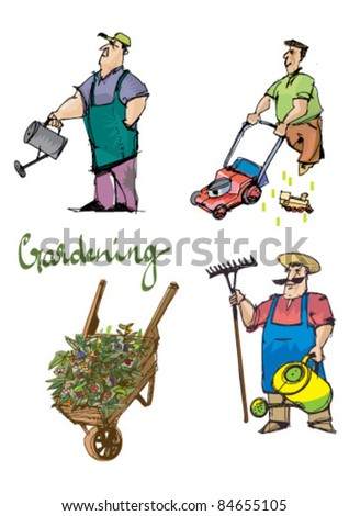 gardening set - stock vector