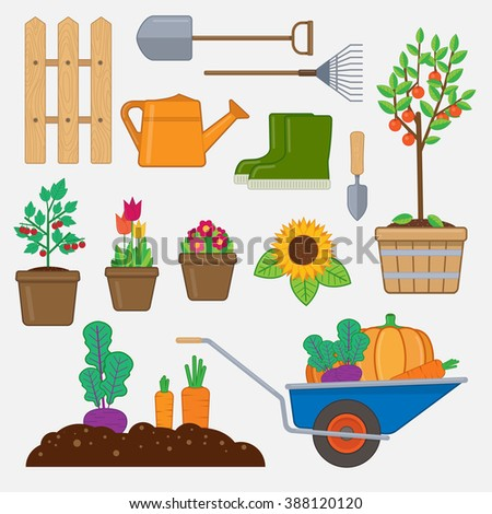 Gardening set. Illustration with gardening tools,wooden fence, flowers and plants in pots, gumboots, and wheelbarrow with vegetables.  - stock vector