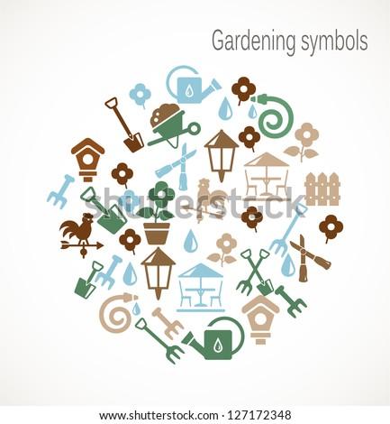 Gardening symbols - stock vector