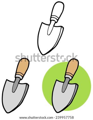 Gardening Tool-Small Hand Trowel. Vector Collection Set - stock vector