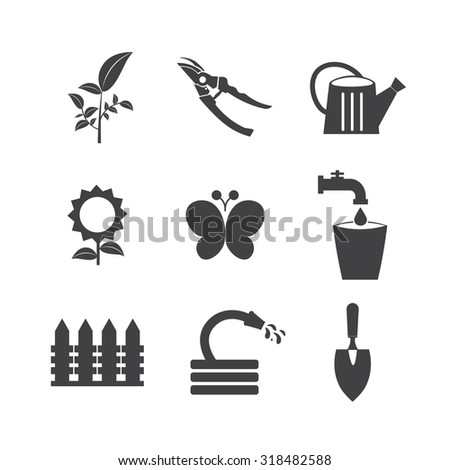 Gardening tools and flowers,nature. - stock vector