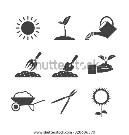 Gardening tools and flowers, nature. - stock vector