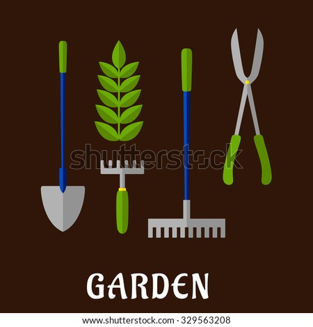 Gardening tools and items flat icons with shovel  hand fork  green plant   rake. Loppers Stock Photos  Royalty Free Images   Vectors   Shutterstock