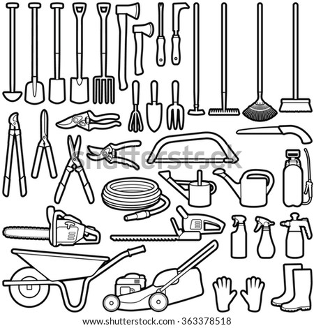 Gardening tools collection - vector line illustration