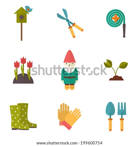 Gardening tools, garden icons set, flat design vector - stock vector