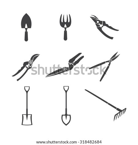 Gardening tools isolate on white - stock vector