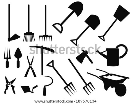 gardening tools Silhouette vector set - stock vector