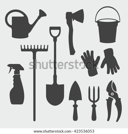 Tools silhouette stock images royalty free images for Gardening tools vector