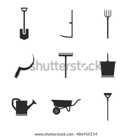 Gardening vector icons  Simple illustration set of 9 gardening elements   editable icons  can. Illustration Silhouette Various Garden Tools Stock Vector 24403597