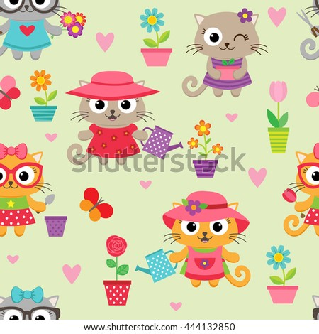 Gardening Vector Seamless Pattern. Cute Little Cat Girls With Gardening  Tools