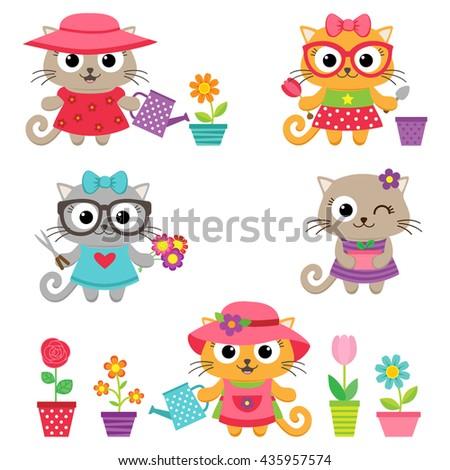 Gardening vector set. Cute little cat girls with gardening tools - stock vector