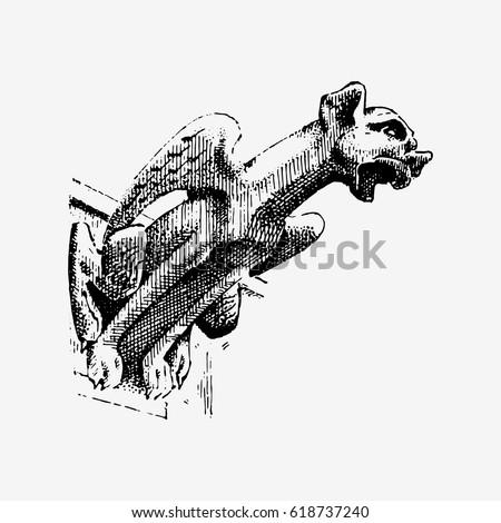 Gargoyle Chimera Of Notre Dame De Paris Engraved Hand Drawn Vector Illustration With