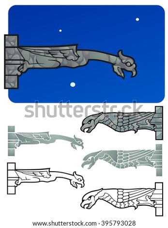 Gargoyles inspired by Notre Dame, with a night sky, and variations - stock vector