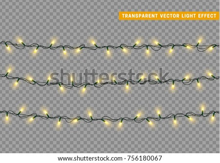 Garlands color yellow isolated vector, Christmas decorations lights effects. Glowing lights for Xmas Holiday.