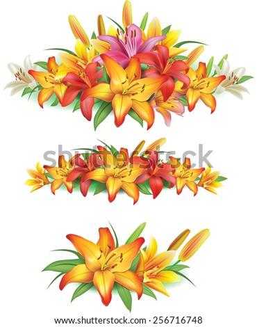 Garlands of yellow lilies  - stock vector