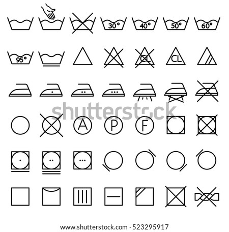 Garment Care Symbols Set Symbols On Stock Vector Royalty Free