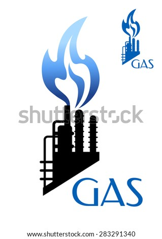 Gas and oil industry icon refinery or petrochemical factory black silhouette with blue burning flame isolated on white background with caption Gas - stock vector