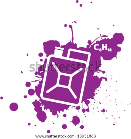 Gas Can Splatter Formula - stock vector