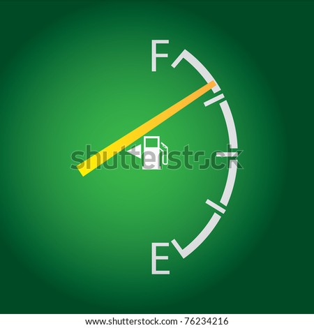 gas gage isolated on a dark green background. - stock vector