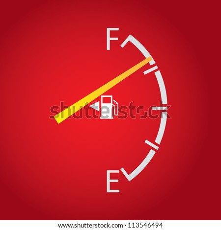 gas gage isolated on a dark red background. - stock vector