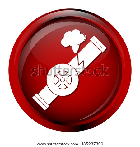 Gas leak pipe icon. Pollution Gas Pipe icon sign vector illustration - stock vector