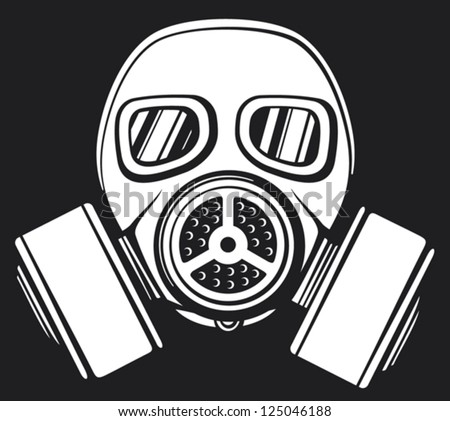 gas mask (army gas mask, mask-protection in the face of the filter, protective gas mask) - stock vector