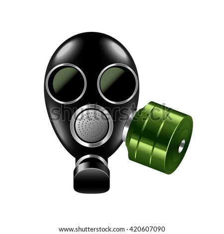 Gas mask isolated on white photo-realistic vector illustration - stock vector